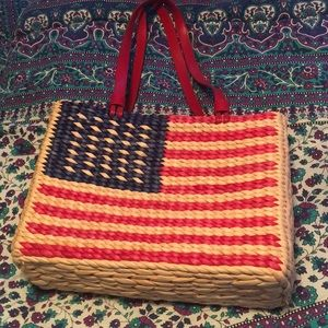 Straw American Flag purse